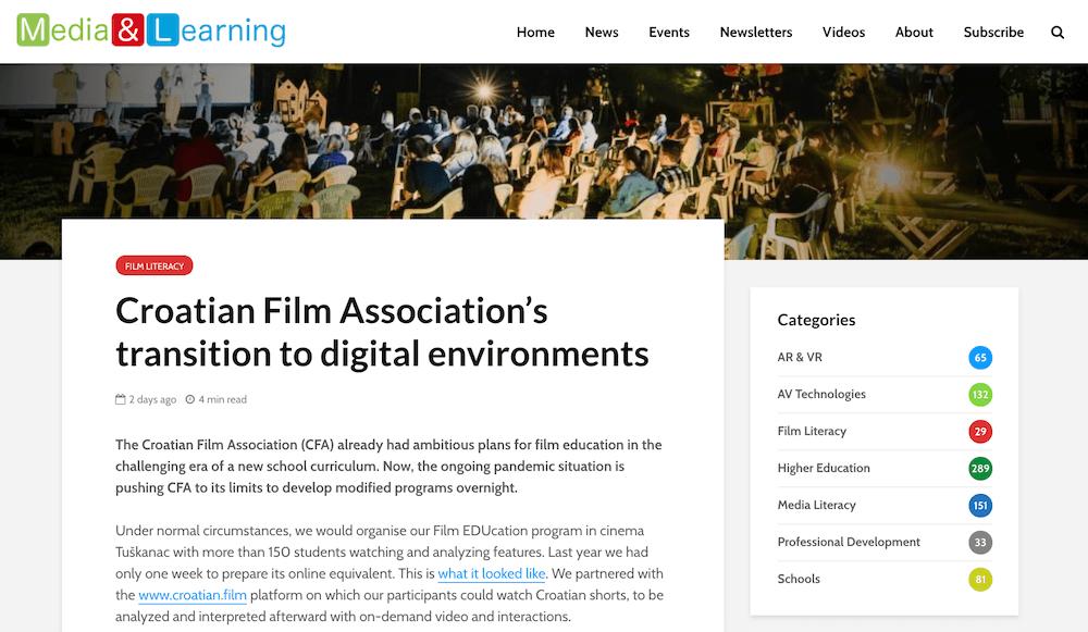 Media & Learning Association istaknula Filmsku naSTAVu