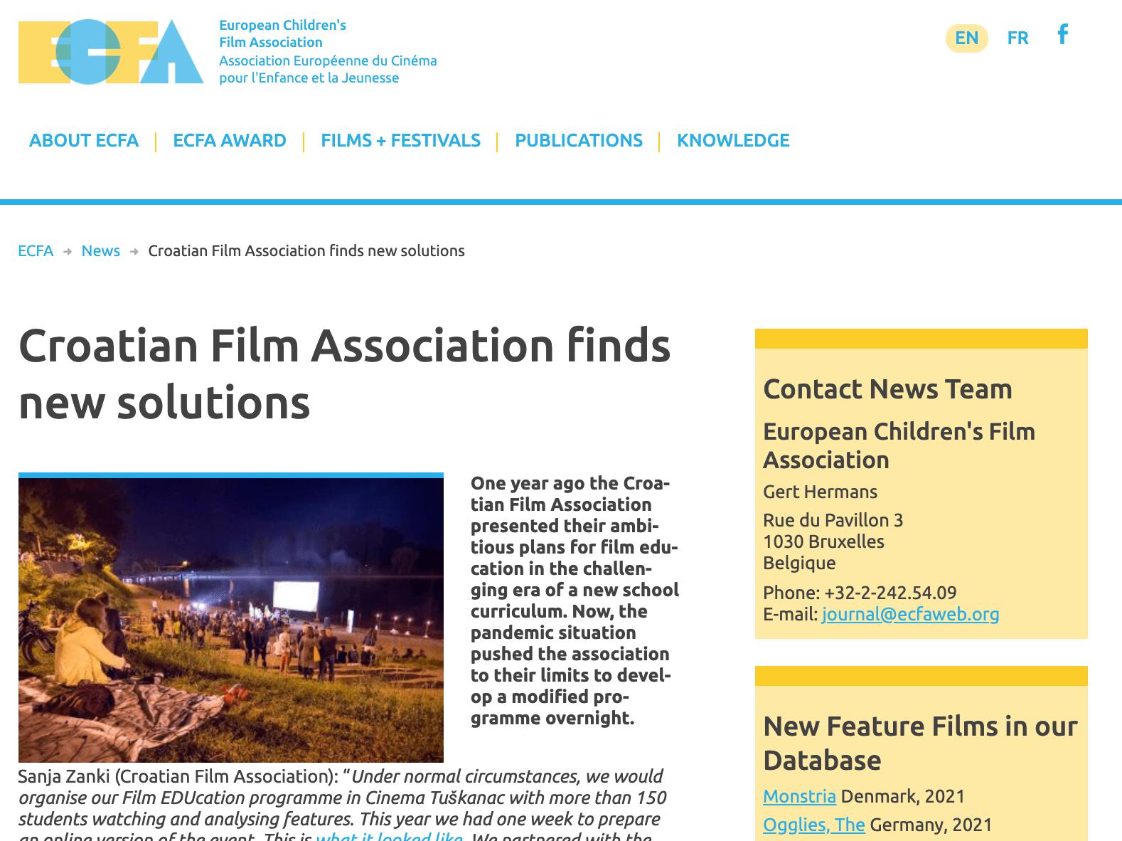 ECFA istaknula Filmsku naSTAVu