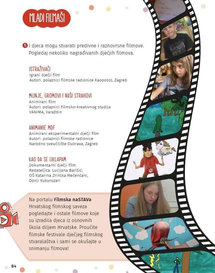 Digitalna filmska naSTAVa uključena je u udžbenik iz hrvatskoga jezika